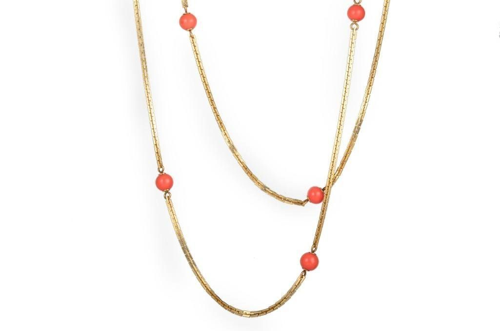 A Gold Coral Bead Necklace, by Tiffany & Co.