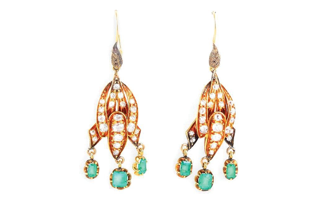 A Pair of Antique Diamond and Emerald Drop Earrings