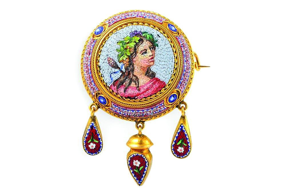 A Victorian Micromosaic Brooch Depicting A Lady
