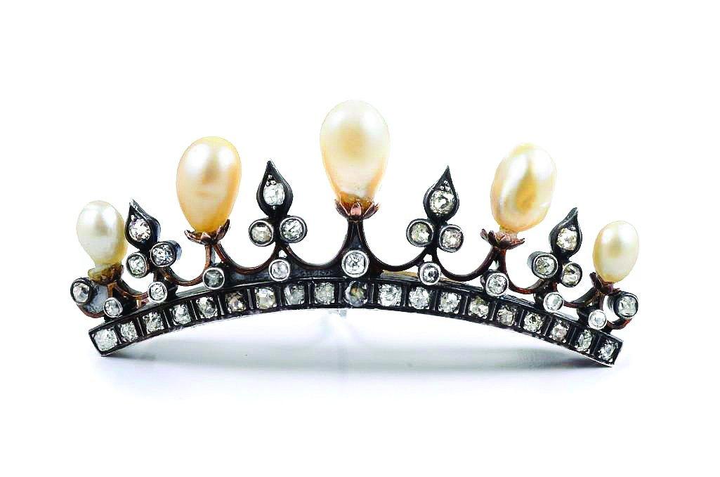 An Antique Natural Pearl and Diamond Tiara Pin