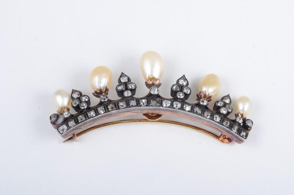 An Antique Natural Pearl and Diamond Tiara Pin - 2