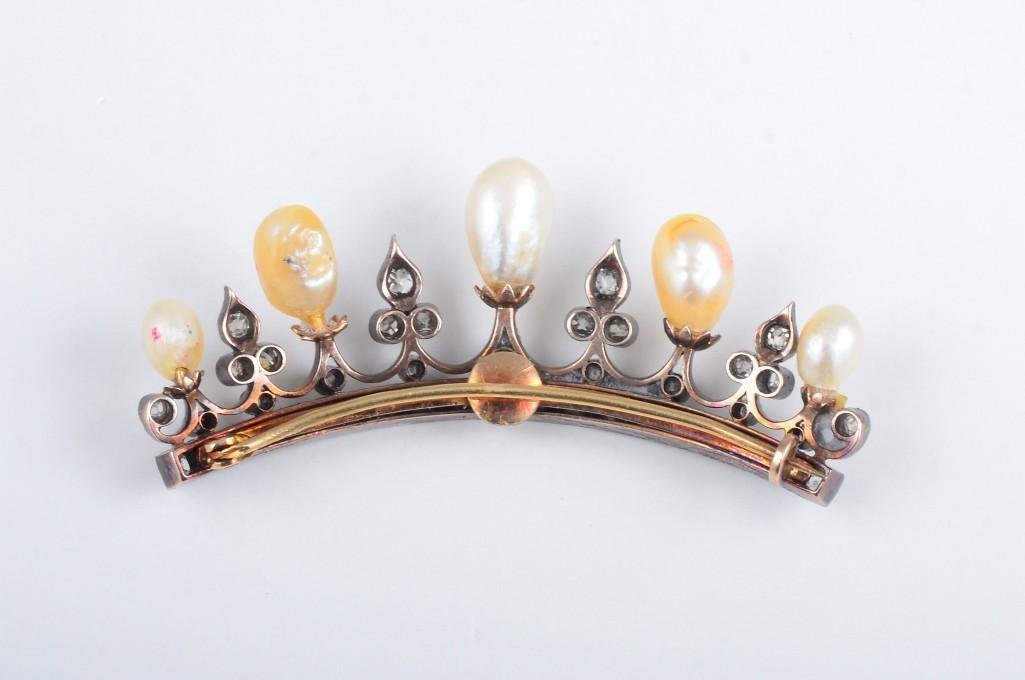 An Antique Natural Pearl and Diamond Tiara Pin - 3
