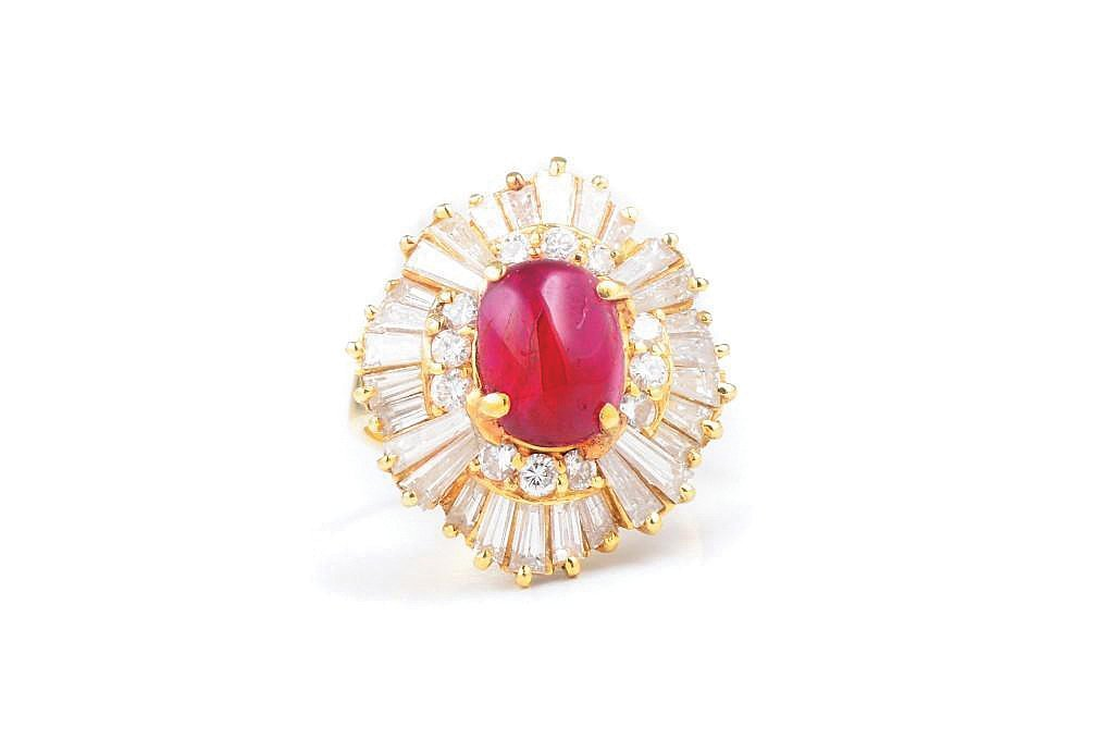 A Ruby and Diamond Gold Cocktail Ring