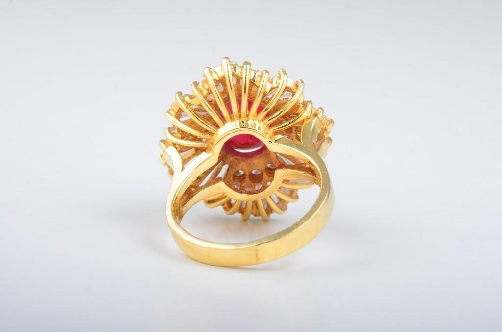 A Ruby and Diamond Gold Cocktail Ring - 2