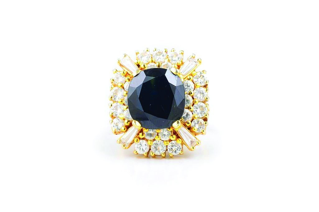 A Dark Sapphire and Diamond Cocktail Ring