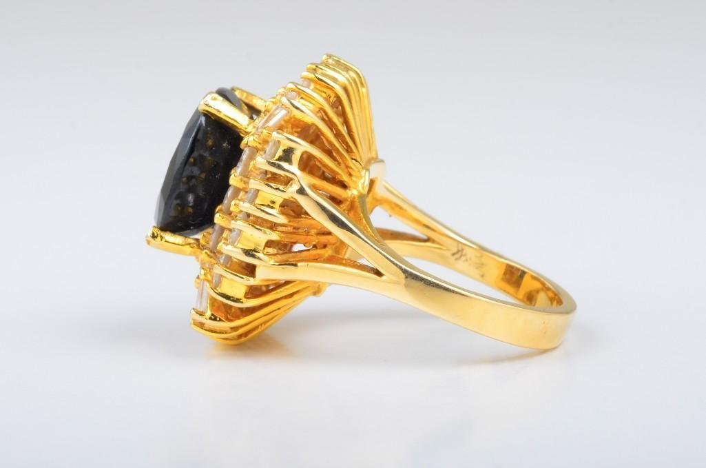 A Dark Sapphire and Diamond Cocktail Ring - 3