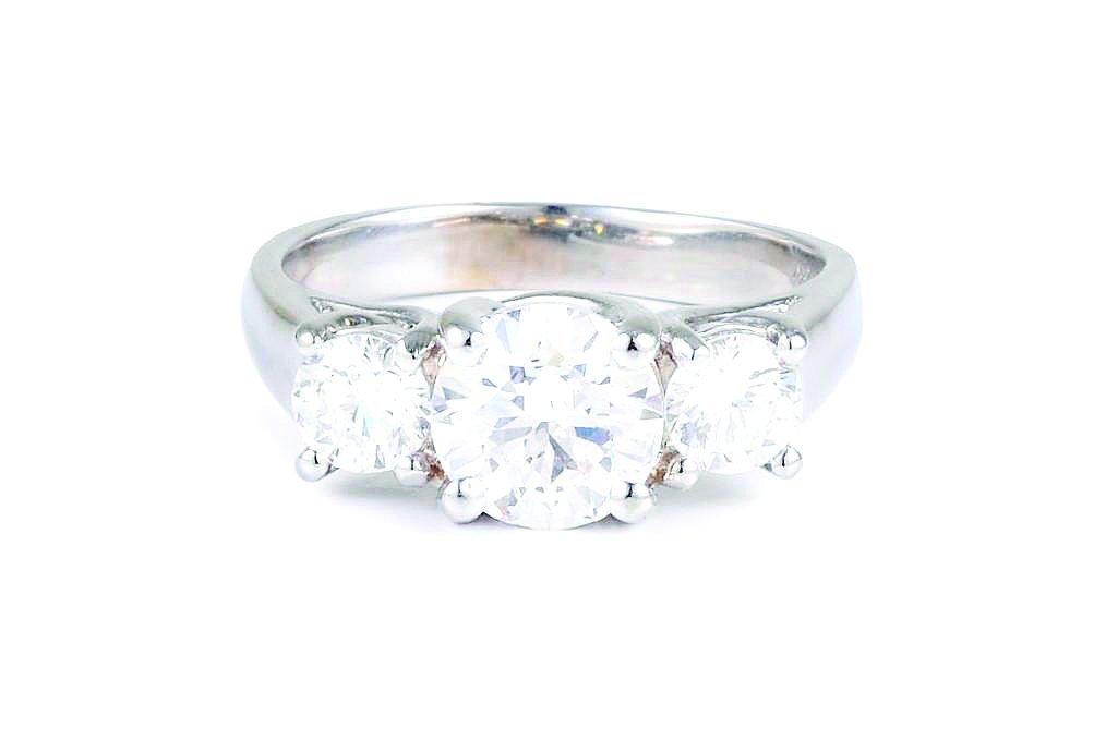 A Three Stone Diamond Engagement Ring
