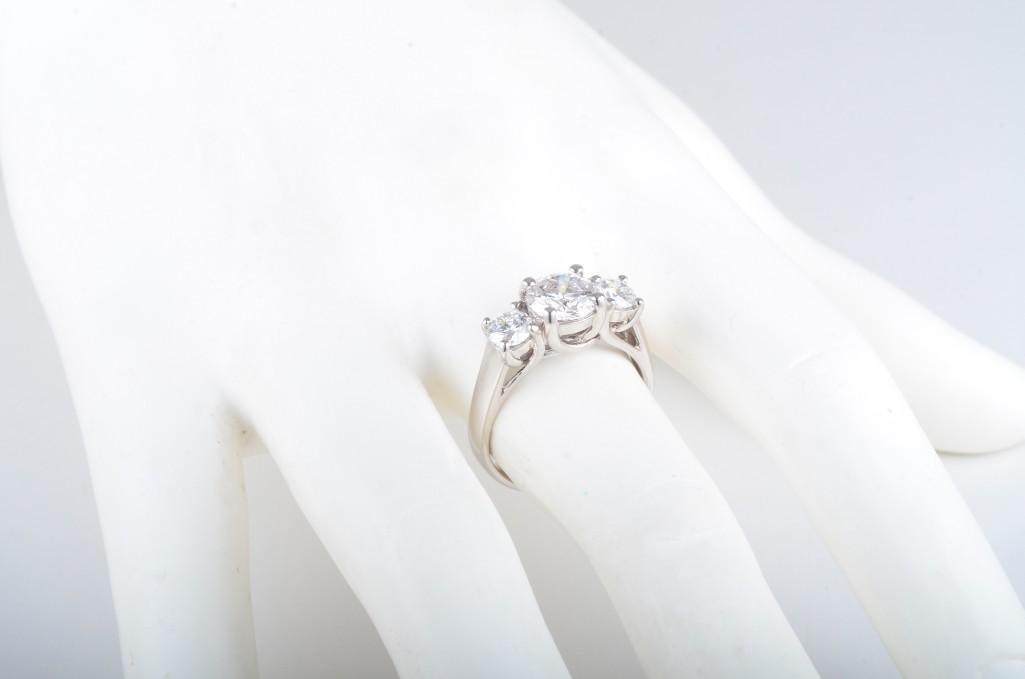A Three Stone Diamond Engagement Ring - 5