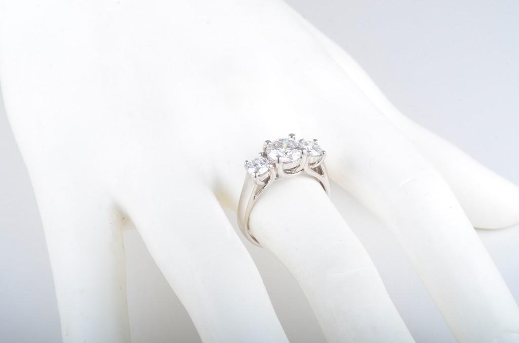 A Three Stone Diamond Engagement Ring - 5