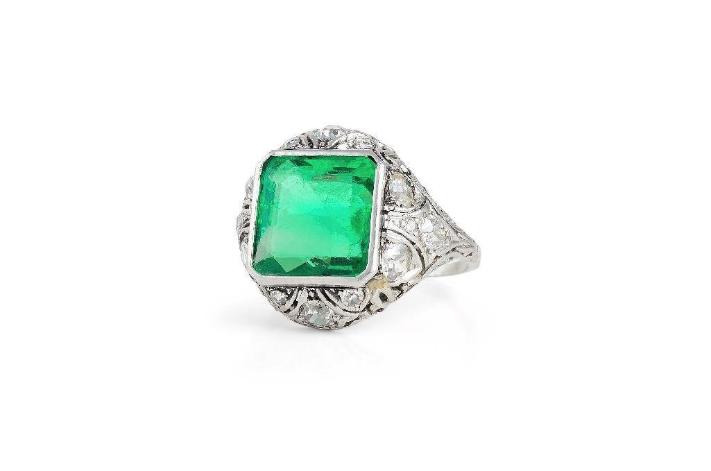 An Art Deco Platinum, Emerald & Diamond Ring