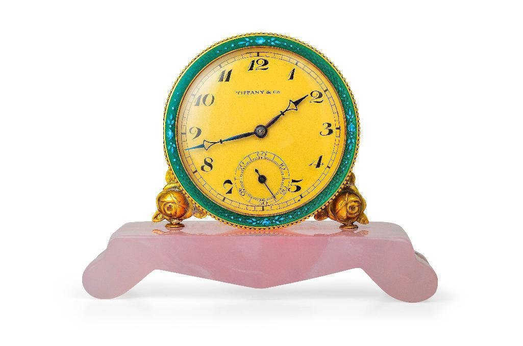 A Tiffany & Co. Rose Quartz and Enamel Clock