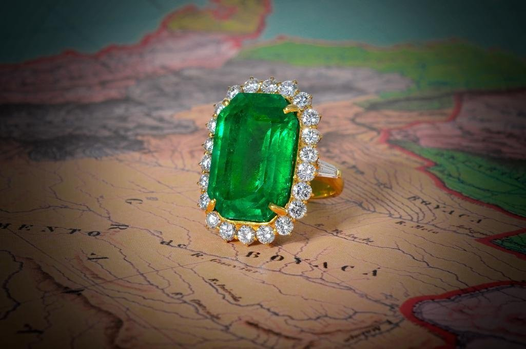 A Gold, Colombian Emerald and Diamond Ring