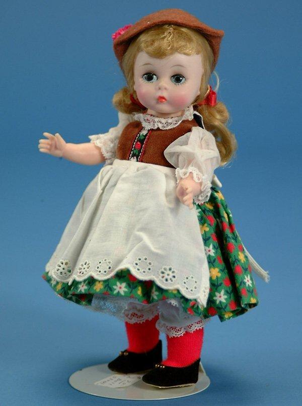 """4: 8"""" Madame Alexander, orig ethnic costume, EX (est. $"""