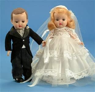 "8"" Nancy Ann Muffy Bride & Groom, all orig, rare fl"