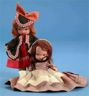 (2) Nancy Ann Story book dolls, ptd bisque, jtd leg