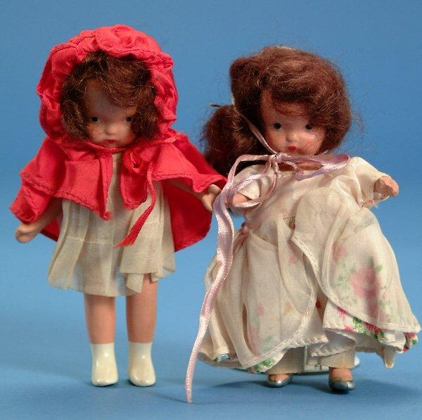 16: (2) Nancy Ann story book dolls, ptd bisque, jtd leg