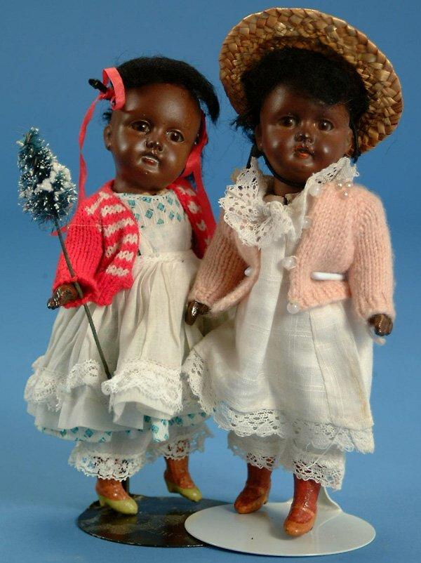 """21: Pr 7"""" Kuhnlenz perfect bisque head black dolls, br."""