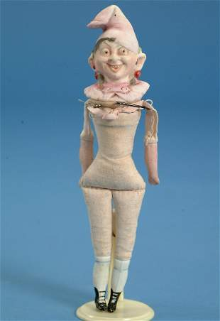 """7.5"""" Hertwig bottle top character doll, cloth body,"""