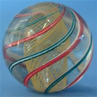 Yellow Latticino Swirl Marble w/ red & white, blue &