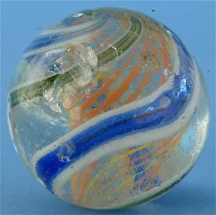 Yellow & Orange Latticino Core Marble w. wide outer