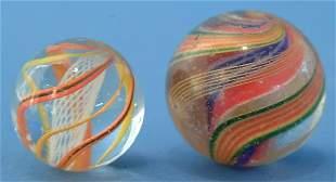 """Lot (2) Marbles, .75"""" white latticino core & 1"""" mult"""