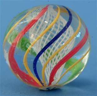 White Latticino Core Marble w/red, green, yellow, &