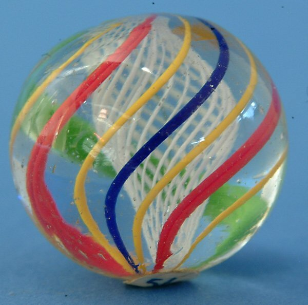 10: White Latticino Core Marble w/red, green, yellow, &
