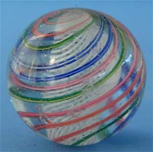 White Latticino Swirl Marble W/multicolored outer b
