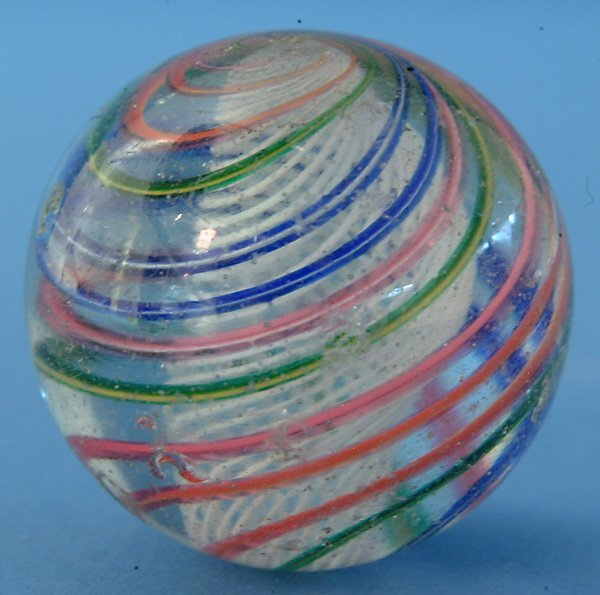 12: White Latticino Swirl Marble W/multicolored outer b
