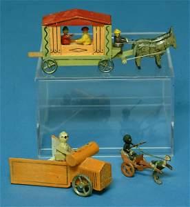 365: (2) Erzgebirge Toys & Bronze Figure. Horse drawn p