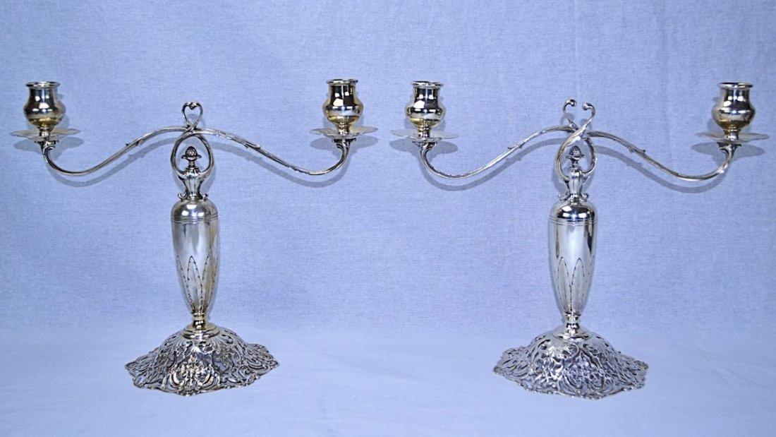 Sterling & Welch Sterling Silver Art Nouveau Candelabra