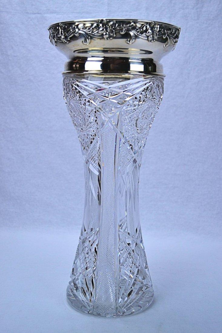 Gorham Sterling Silver Mounted Cut Glass Vase 1891