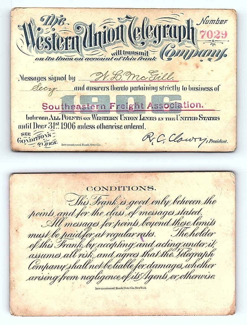 1906 Western Union Telegraph Company Railroad Pass