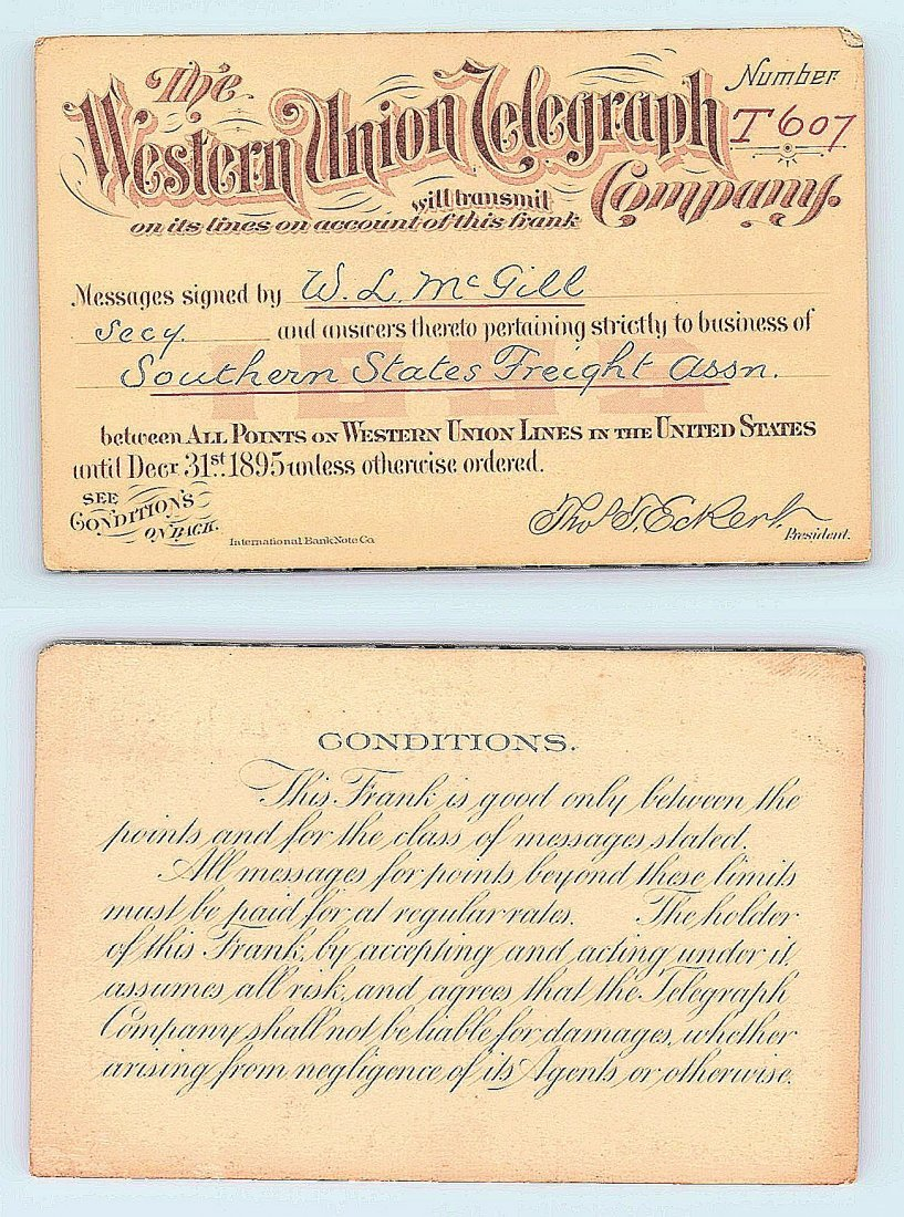 1895 Western Union Telegraph Company Railroad Pass