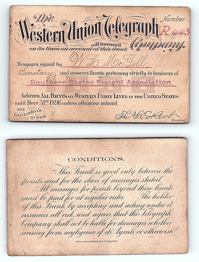 1896 Western Union Telegraph Company Railroad Pass