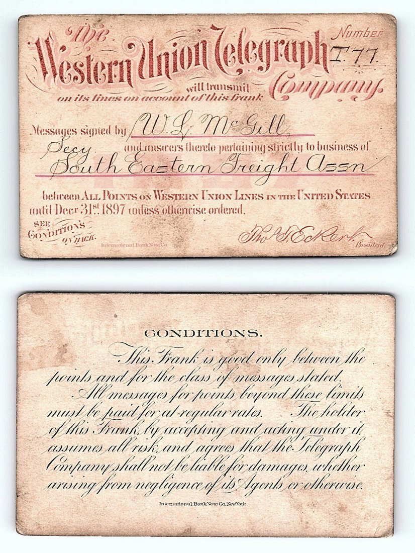 1897 Western Union Telegraph Company Railroad Pass