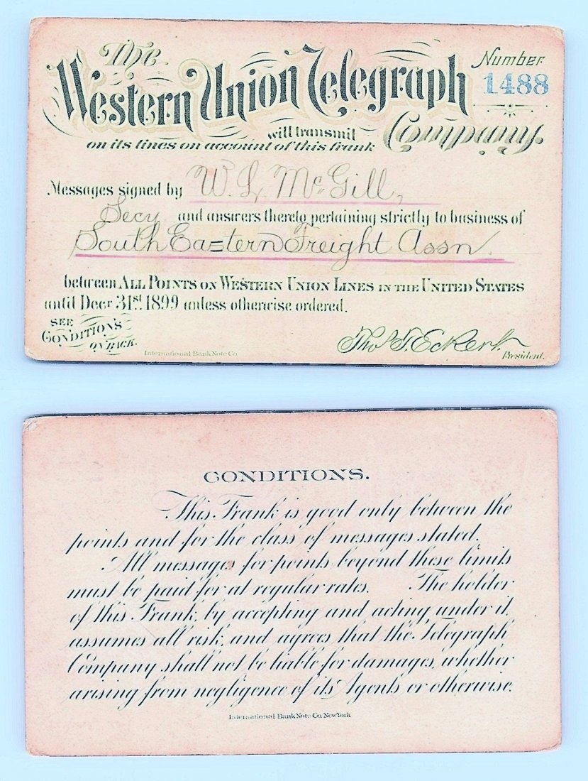 1899 Western Union Telegraph Company Railroad Pass