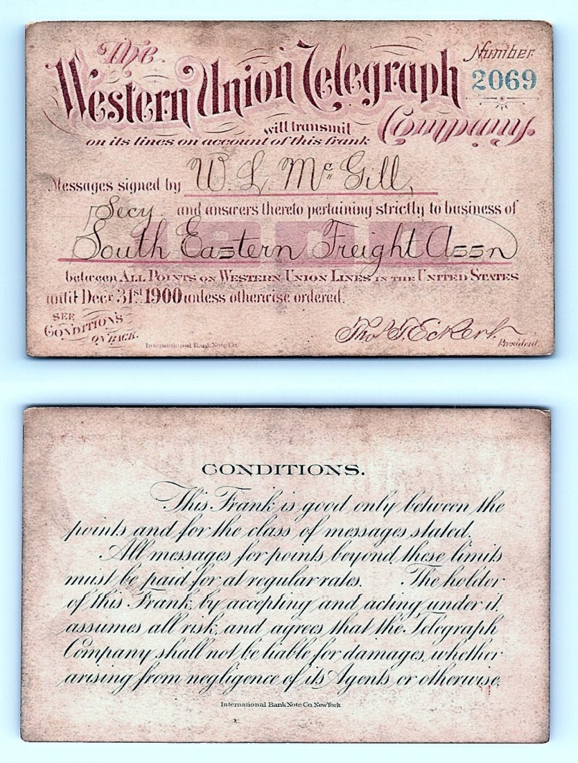 1900 Western Union Telegraph Company Railroad Pass