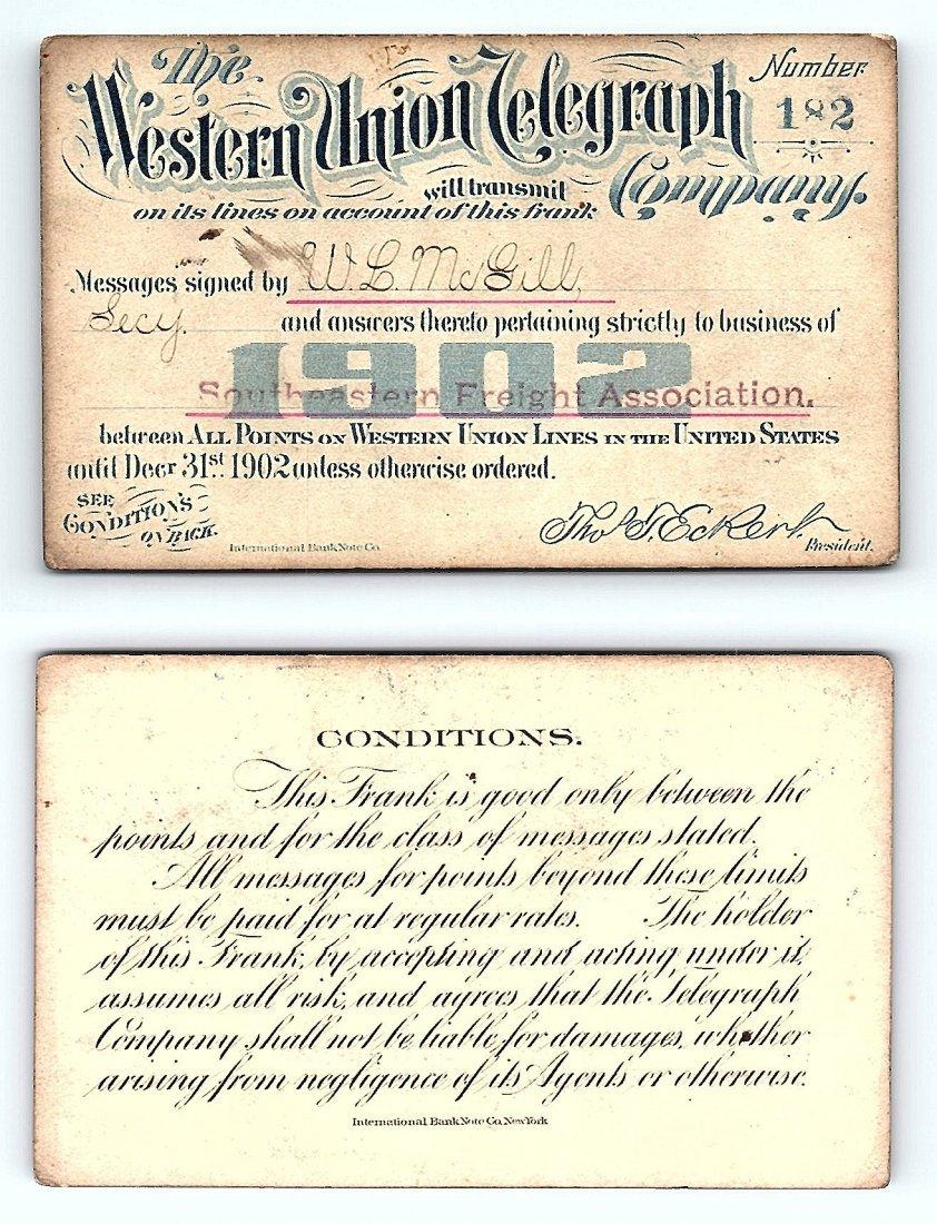 1902 Western Union Telegraph Company Railroad Pass