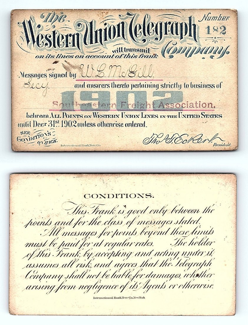 1902 Western Union Telegraph Company Railroad Pass