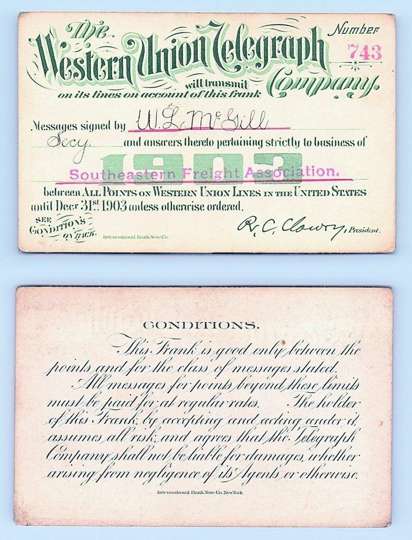 1903 Western Union Telegraph Company Railroad Pass