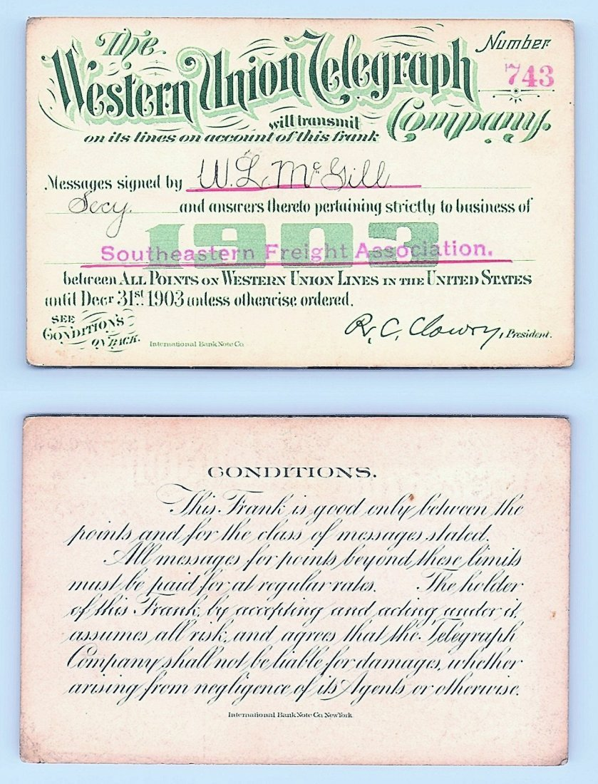 1903 Western Union Telegraph Company Railroad Pass