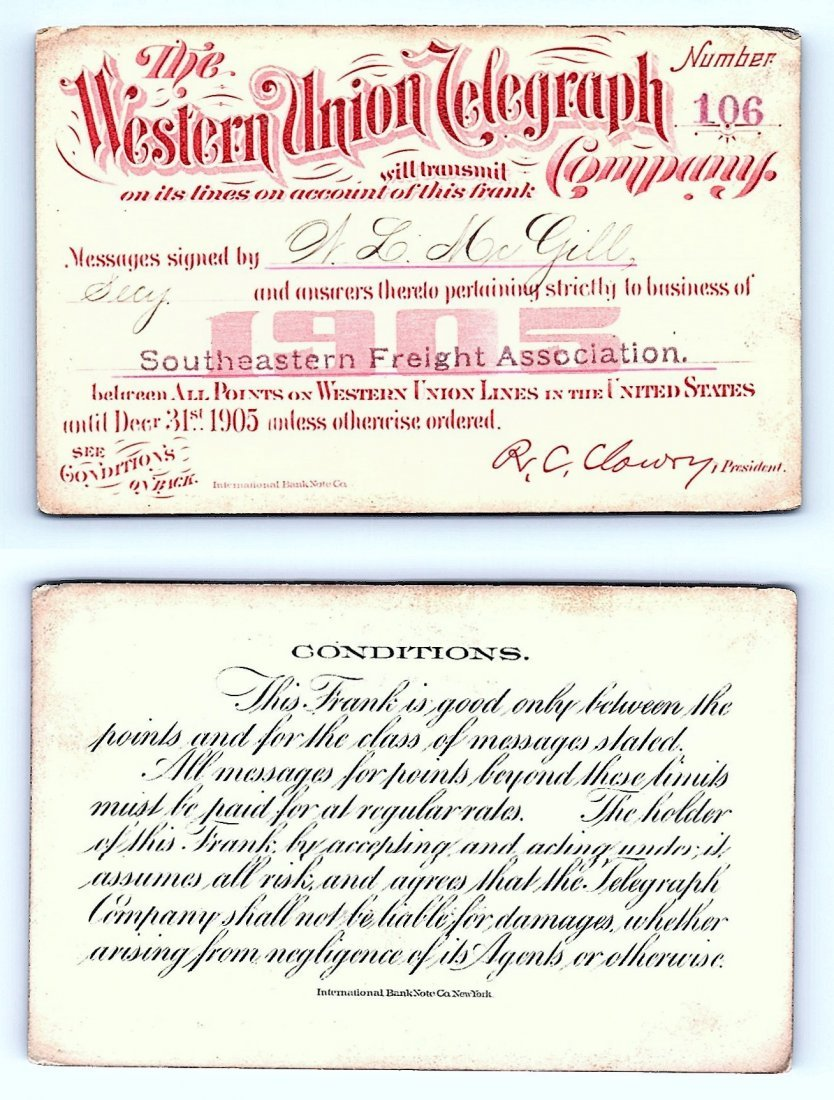 1905 Western Union Telegraph Company Railroad Pass