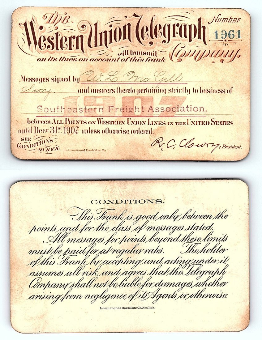 1907 Western Union Telegraph Company Railroad Pass