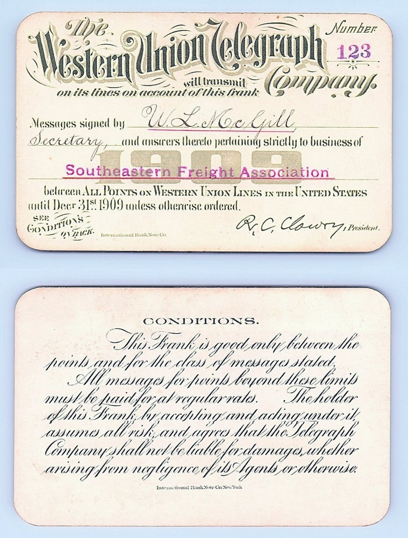 1909 Western Union Telegraph Company Railroad Pass