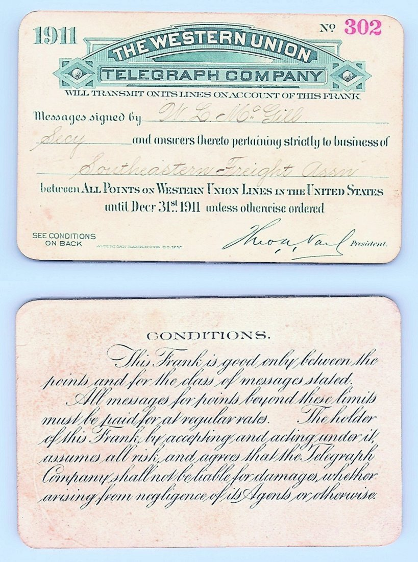 1911 Western Union Telegraph Company Railroad Pass