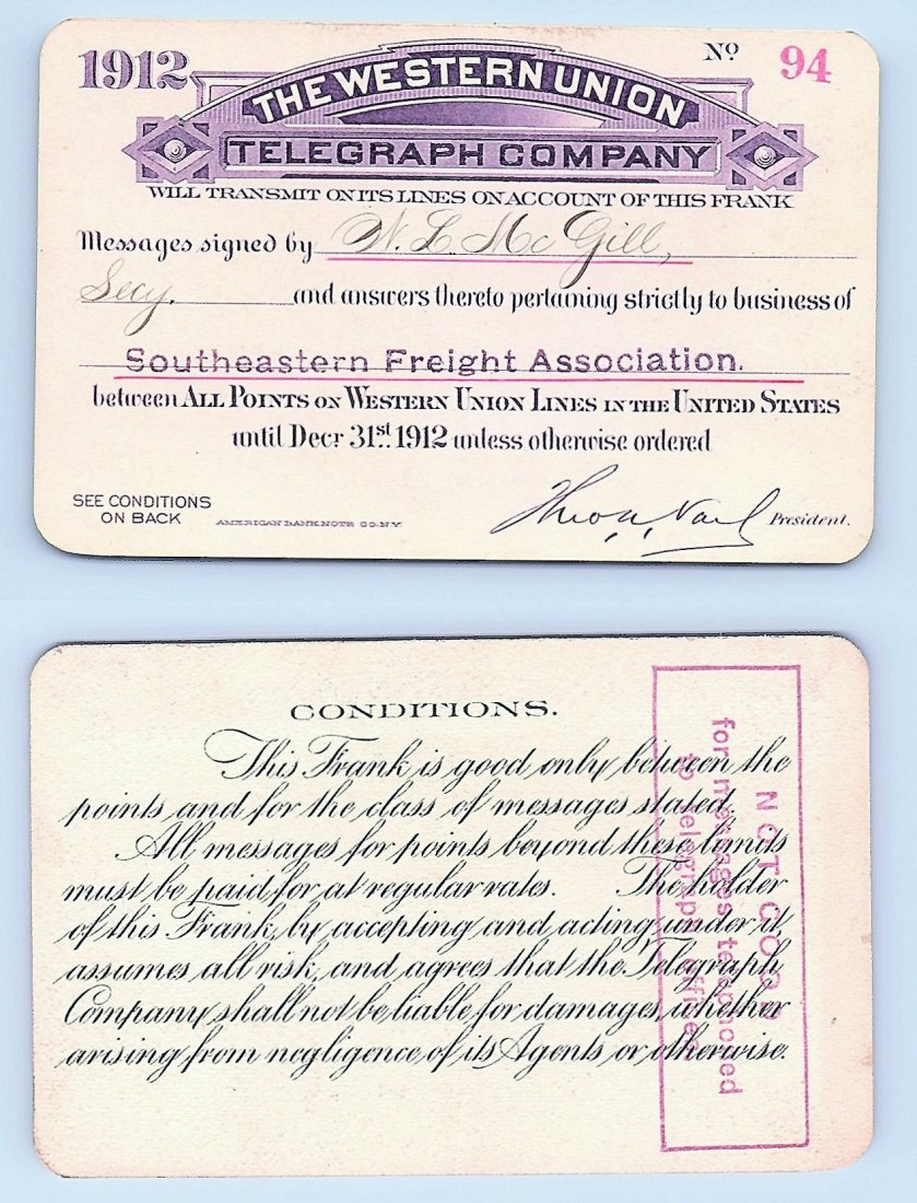 1912 Western Union Telegraph Company Railroad Pass