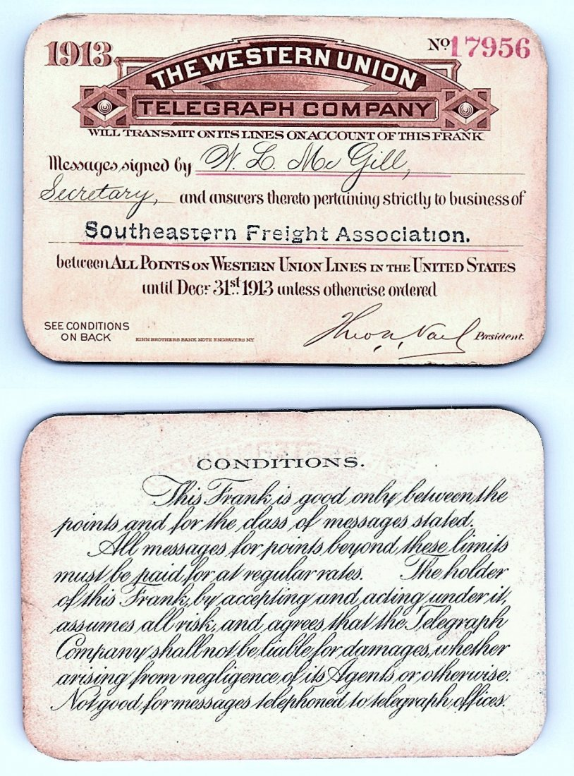 1913 Western Union Telegraph Company Railroad Pass