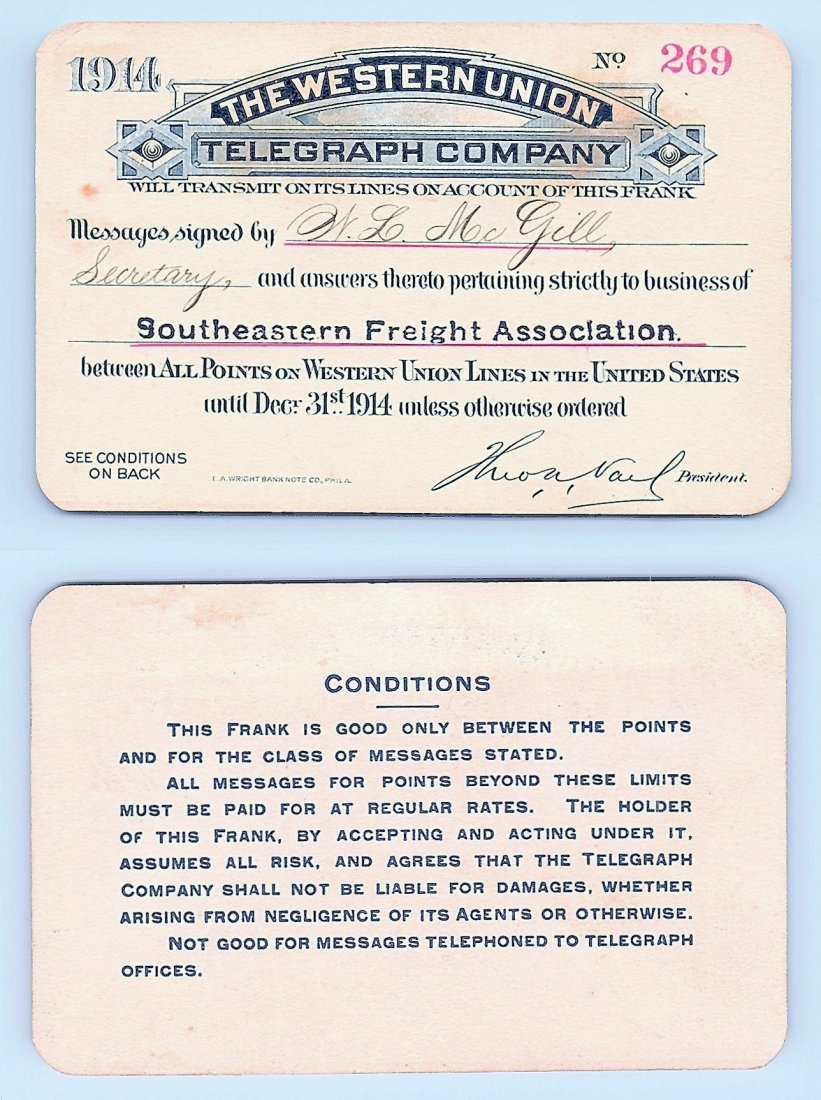 1914 Western Union Telegraph Company Railroad Pass