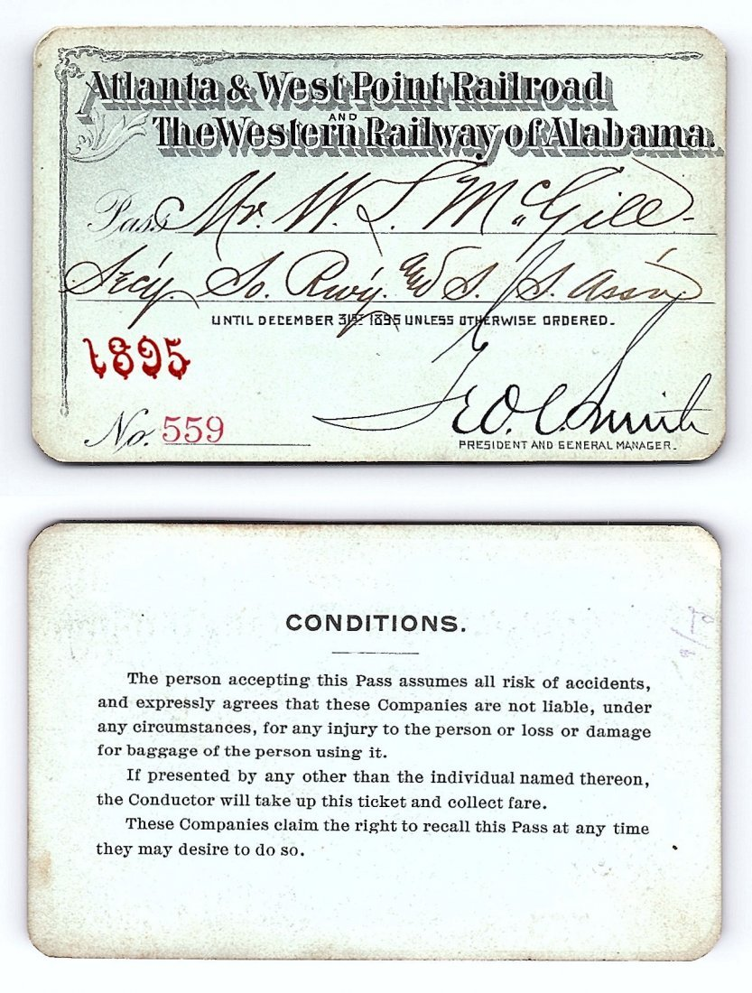 1895 Atlanta&West Point &Western Railway of Alabama